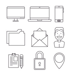 set of blockchain and bitcoin technology icon vector image