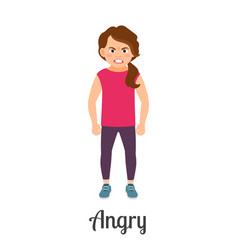 cartoon little girl angry feeling vector image