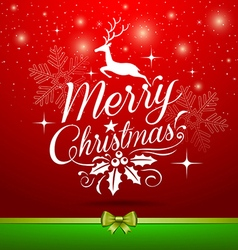 Christmas white lettering with reindeer concepts vector image vector image