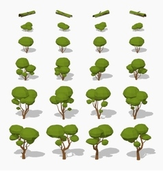 Low poly green trees vector image