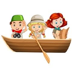 Three kids riding on rowboat vector image