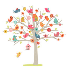 tree and birds vector image