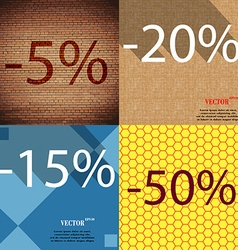 20 15 50 icon Set of percent discount on abstract vector