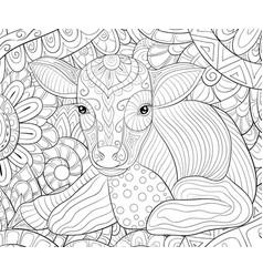 Adult coloring bookpage a cute calf vector