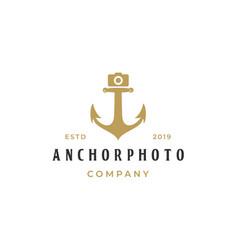 Anchor with camera photography logo template vector