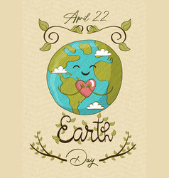 april 22 earth day card cute planet with love vector image