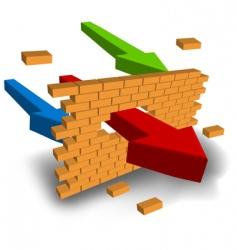 Arrow punching wall vector