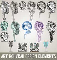 art nouveau design elements vector image