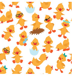 baduck seamless pattern cute ducklings kids vector image