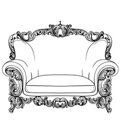 Baroque armchair with luxurious ornaments vector