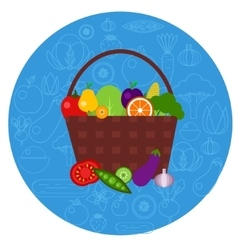 Basket of fruits and vegetables in round shape vector