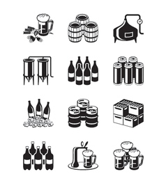 Beer and brewery icon set vector
