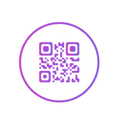 blue qr code scanning icon or design logo in thin vector image