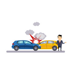 car and transportation collision vector image