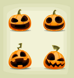 Cartoon halloween pumpkin laugh expression set vector