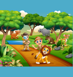cartoon of two boy explorer with animals in the ju vector image