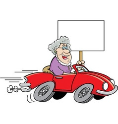 Cartoon Old Lady Driving a Sports Car vector