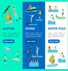 cartoon water sport and characters people banner vector image