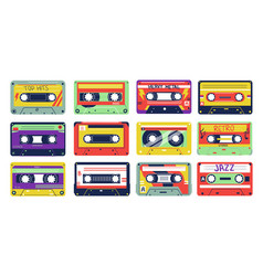 Cassette retro song tapes colorful multimedia vector