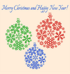 christmas and happy new year card vector image