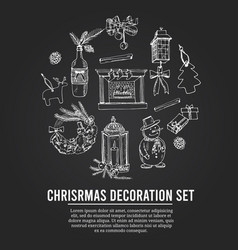 christmas decoration set menu doodle icons vector image