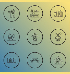 City icons line style set with power tower vector