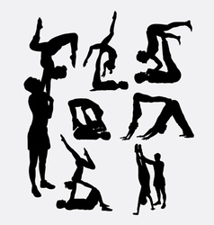 Couple yoga male and female silhouette vector image