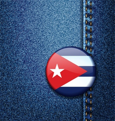 Cuba Flag Badge On Jeans Denim Texture vector image