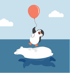 Cute polar bear swimming with penguin holding vector