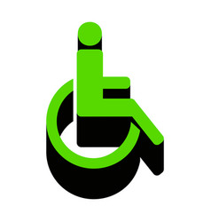 Disabled sign green 3d icon vector