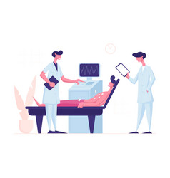 doctor and nurse scanning young male patient vector image