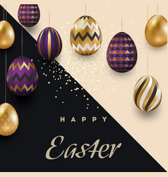 easter card with gold ornate purple eggs on a vector image