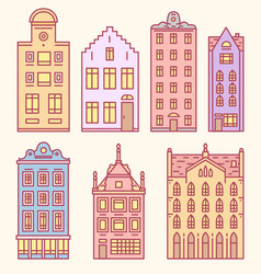 europe house or apartments set of doodle sketch vector image