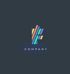 F letter logo with colorful lines design rainbow vector