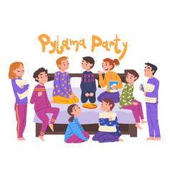 Friends having fun on pajama party cute children vector