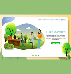 Friends party landing page website template vector