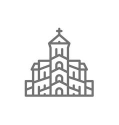 georgian orthodox church tbilisi line icon vector image