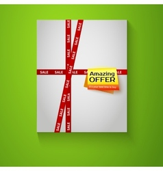 Gift box with red sale tape on green background vector image