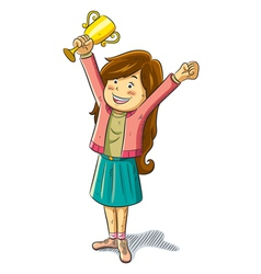 Girl win a trophy vector