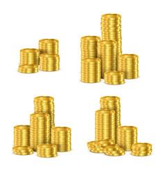 golden coins stacks gold cash coin pile vector image