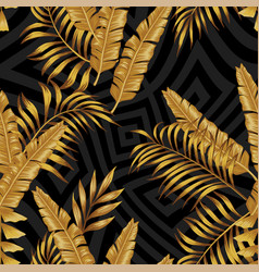 Golden exotic leaves seamless abstract grayscale vector
