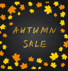 Golden lettering autumn sale on chalkboard vector