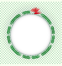 green fern leaves circle photo frame vector image