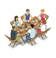 group of friends on picnic vector image