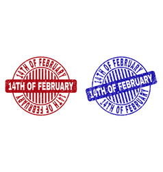 Grunge 14th of february scratched round stamps vector
