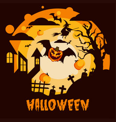 halloween background under moon pumpkins vector image