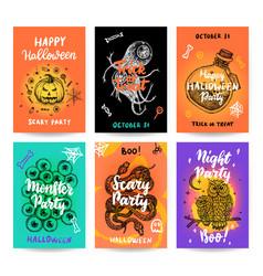 halloween trendy posters vector image