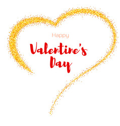 hand-drawn golden heart with glitter valentine s vector image