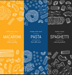 hand drawn pasta types vertical banner vector image