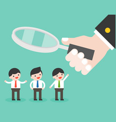 Hand hold magnify glass with group of cute vector